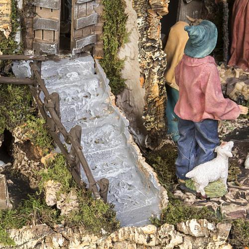 Capanna presepe 80x110x70 cm borgo e fontana 8