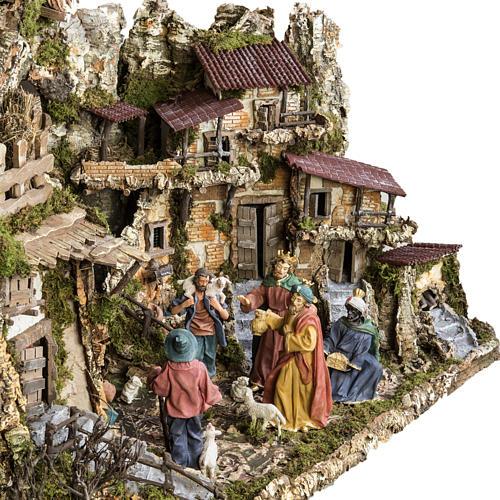 Capanna presepe 80x110x70 cm borgo e fontana 9