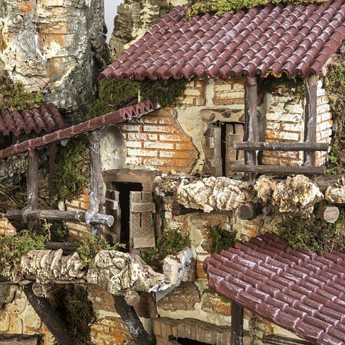 Capanna presepe 80x110x70 cm borgo e fontana 15