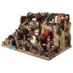 Nativity village, illuminated with waterfall, stable and mill s3