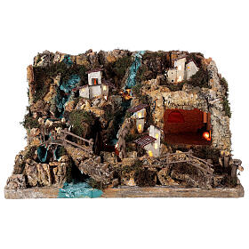 Nativity village, illuminated with waterfall, stable and mill s11