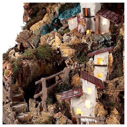 Nativity village, illuminated with waterfall, stable and mill 5