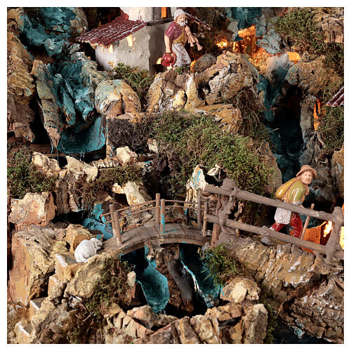 Nativity village, illuminated with waterfall, stable and mill 8