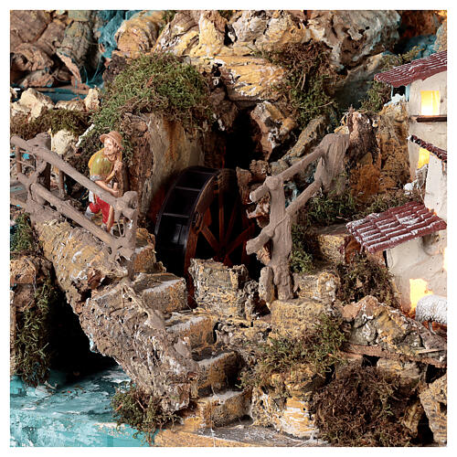 Nativity village, illuminated with waterfall, stable and mill 10