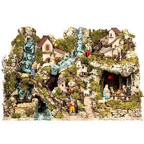 Borgo illuminato presepe con capanna, cascate, mulino s1