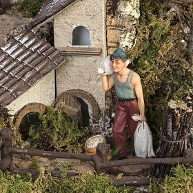 Borgo illuminato presepe con capanna, cascate, mulino s5