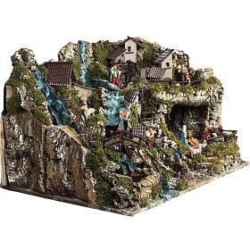 Borgo illuminato presepe con capanna, cascate, mulino s9