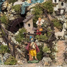 Borgo illuminato presepe con capanna, cascate, mulino s13
