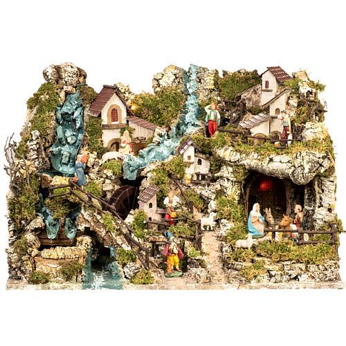 Borgo illuminato presepe con capanna, cascate, mulino 1