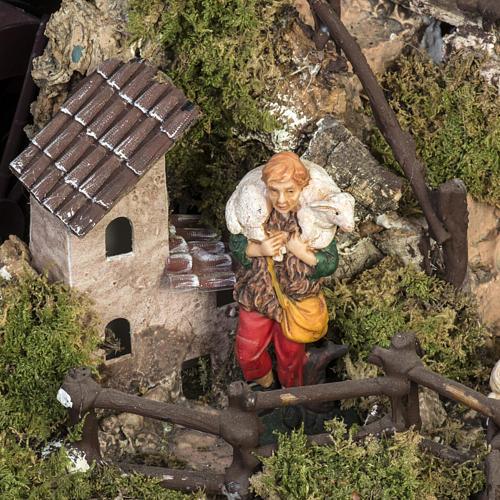 Borgo illuminato presepe con capanna, cascate, mulino 3