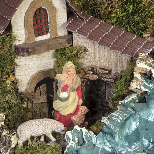 Borgo illuminato presepe con capanna, cascate, mulino 6