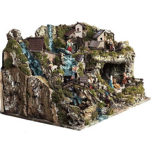 Borgo illuminato presepe con capanna, cascate, mulino 9