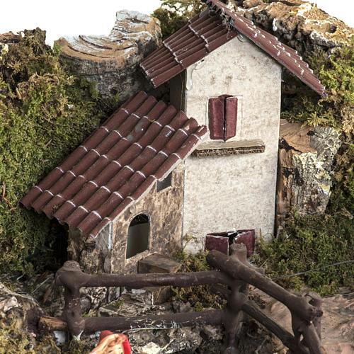 Borgo illuminato presepe con capanna, cascate, mulino 11