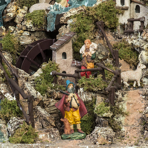 Borgo illuminato presepe con capanna, cascate, mulino 13