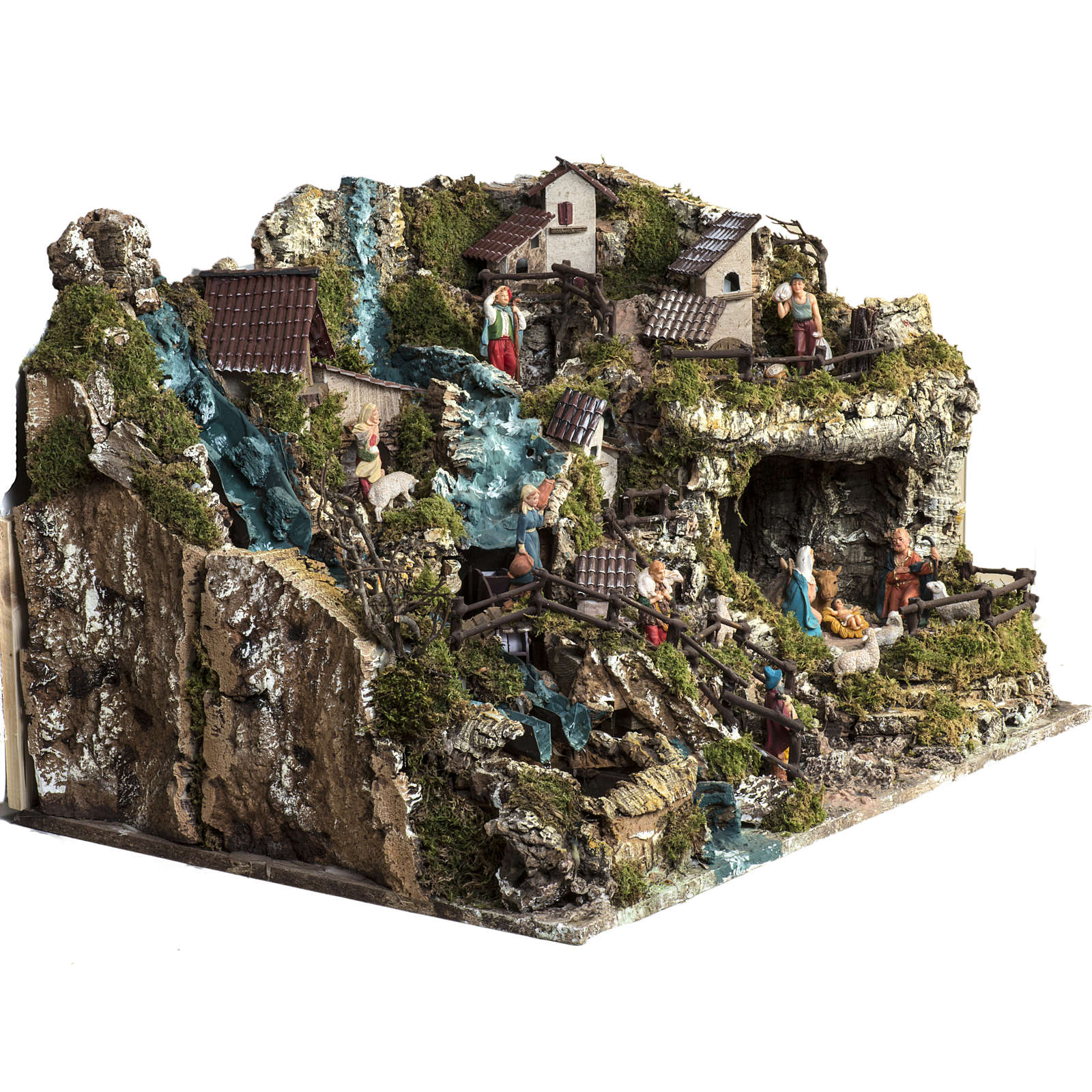 Nativity village, illuminated with waterfall, stable and mill 4