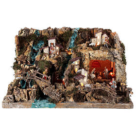 Nativity village, illuminated with waterfall, stable and mill s1