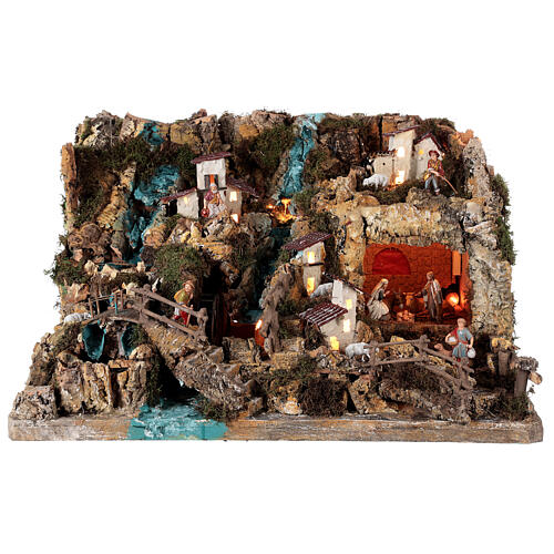 Nativity village, illuminated with waterfall, stable and mill 1