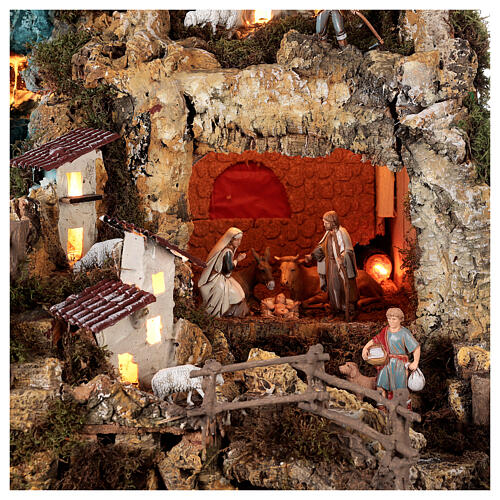 Nativity village, illuminated with waterfall, stable and mill 2