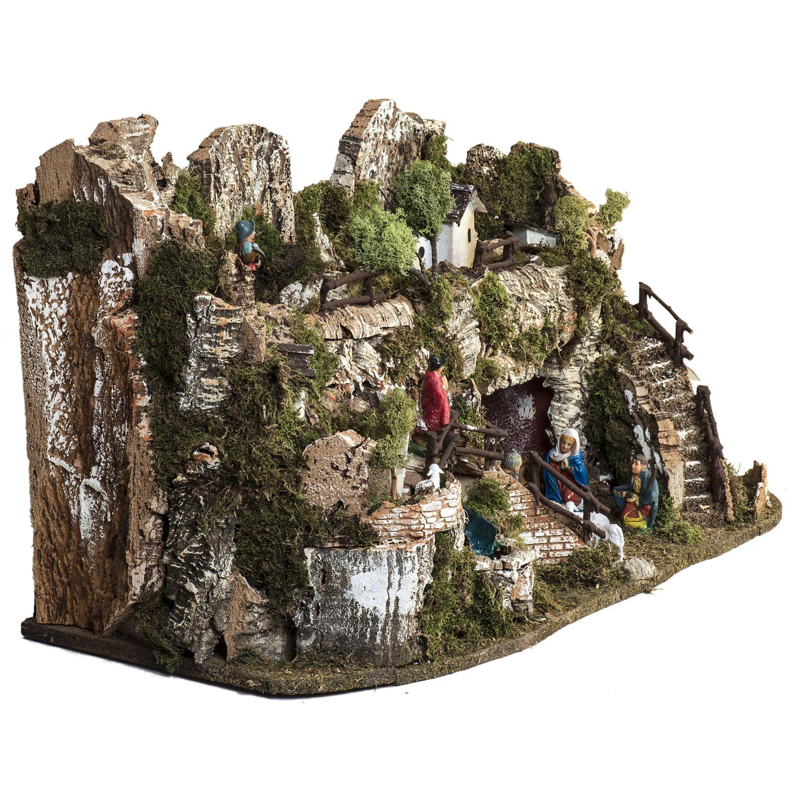 Borgo presepe 45x75x35 cm con cascata 4