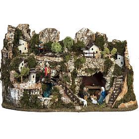 Borgo presepe 45x75x35 cm con cascata s1