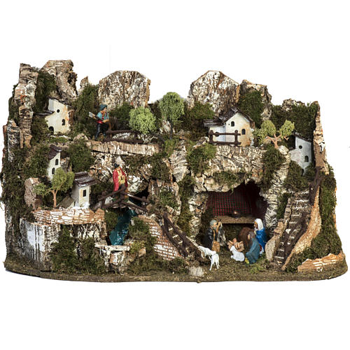 Borgo presepe 45x75x35 cm con cascata 1