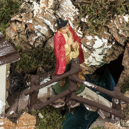 Borgo presepe 45x75x35 cm con cascata 3