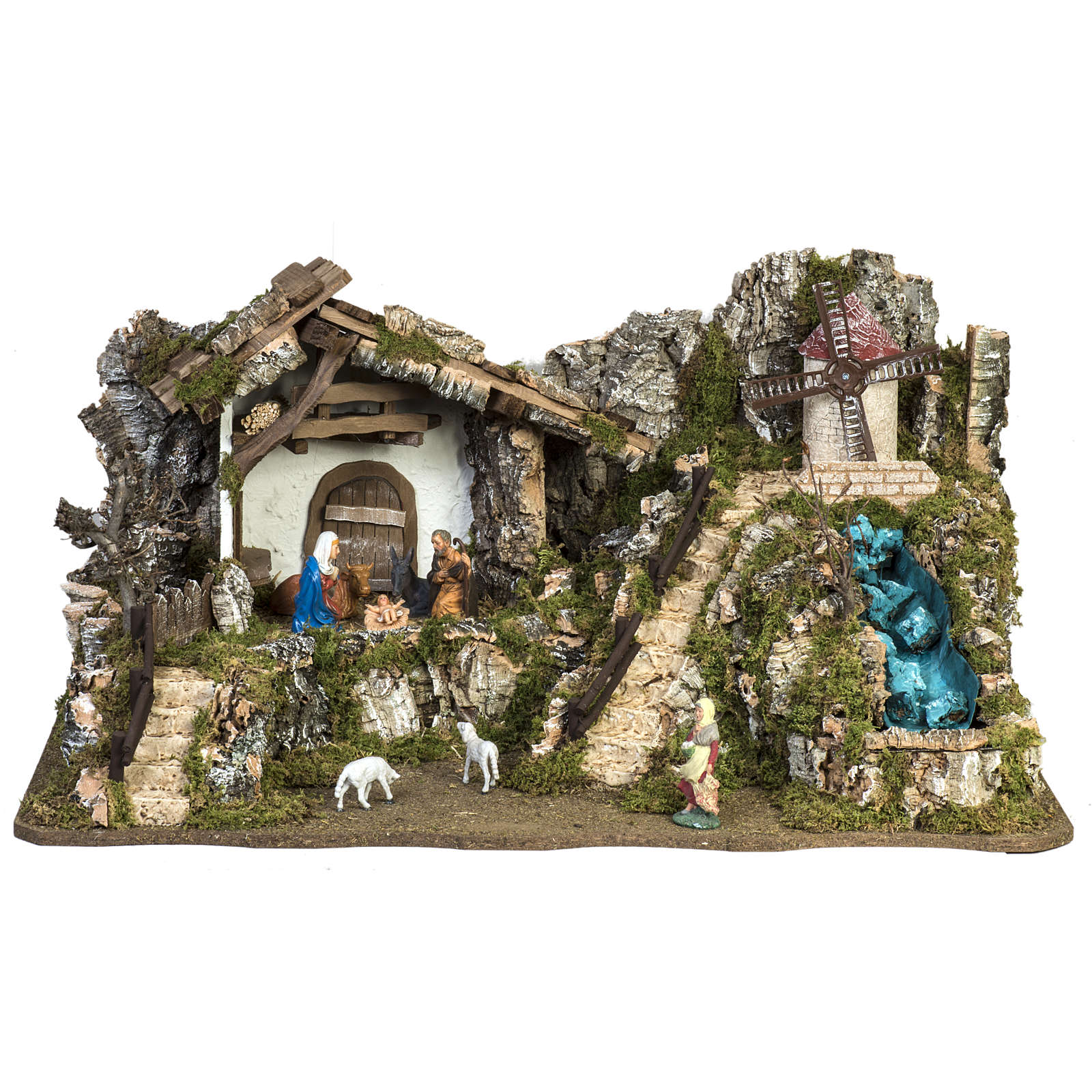 Nativity stable with windmill and waterfall 4