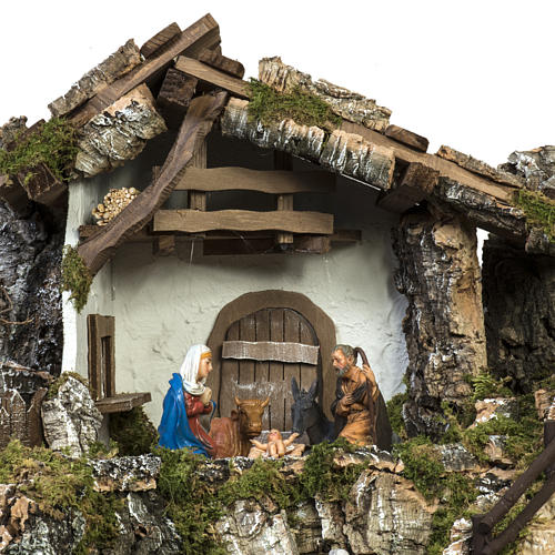 Nativity stable with windmill and waterfall 7