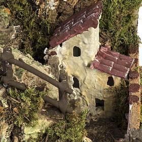 Grotte crèche Noel avec cascade, feu, maisons s16