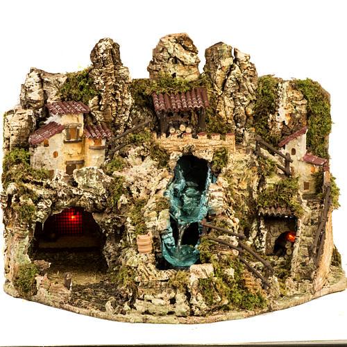 Grotte crèche Noel avec cascade, feu, maisons 1