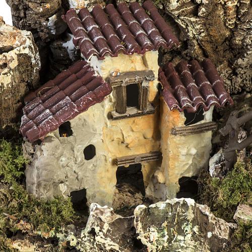 Grotte crèche Noel avec cascade, feu, maisons 5