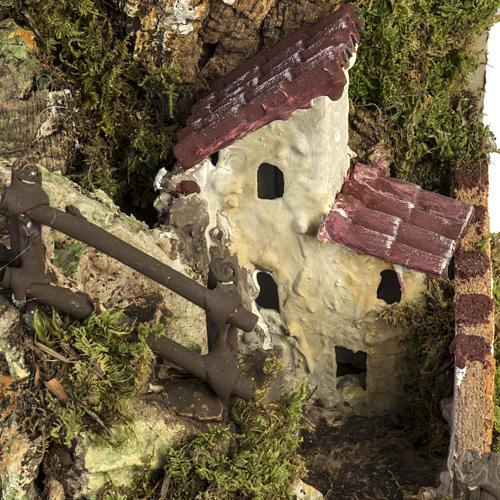 Grotte crèche Noel avec cascade, feu, maisons 15