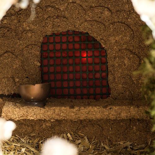 Grotte crèche Noel avec cascade, feu, maisons 10