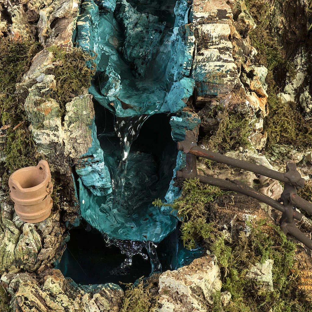 Grotta presepe con cascata, fuoco, case, luci 4
