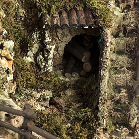 Grotta presepe con cascata, fuoco, case, luci s4