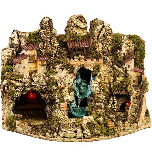 Grotta presepe con cascata, fuoco, case, luci 1