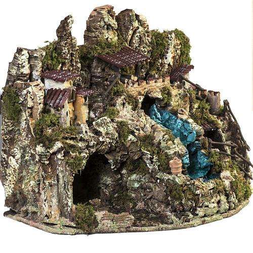 Grotta presepe con cascata, fuoco, case, luci 6