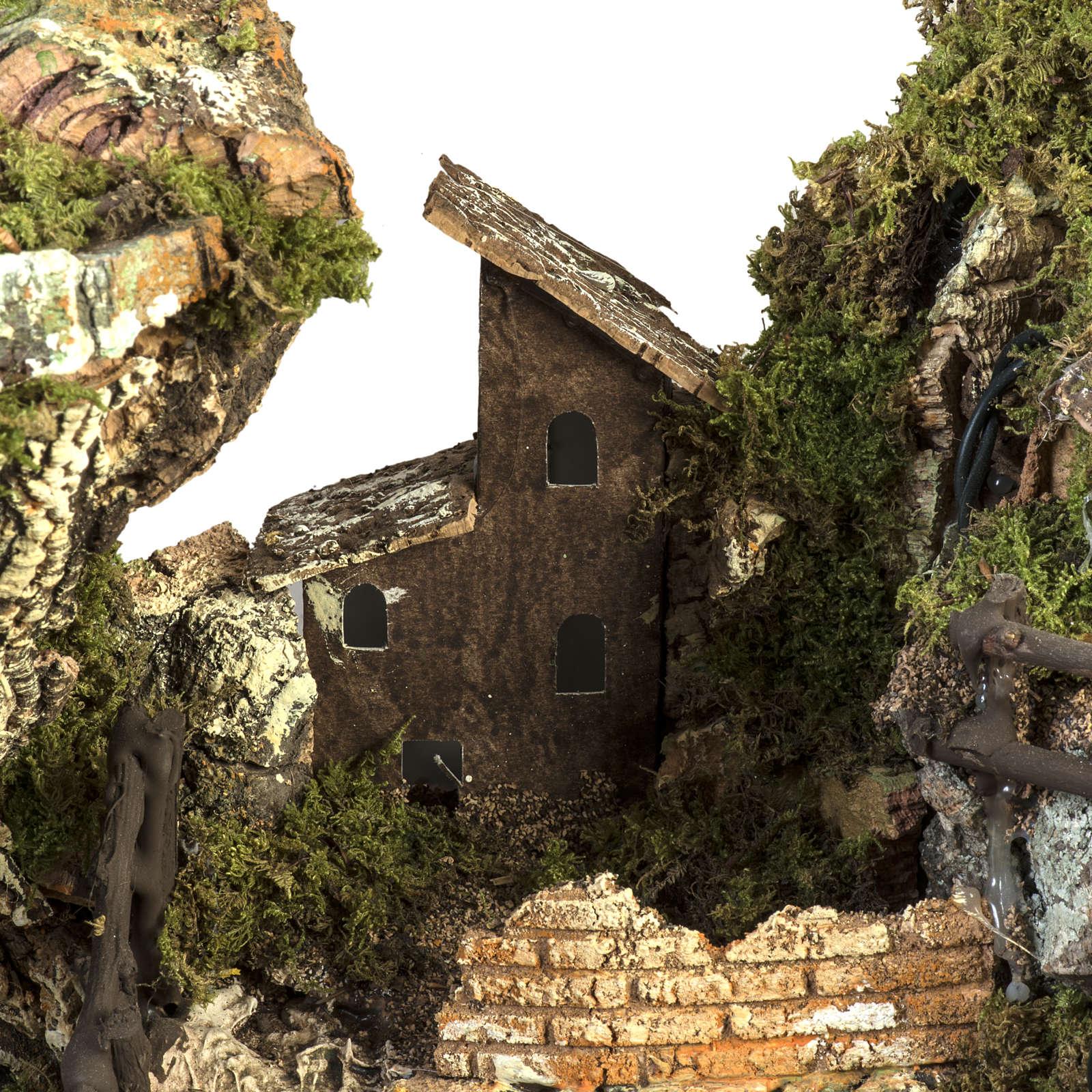Borgo presepe illuminato con capanna 58x50x38 cm 4