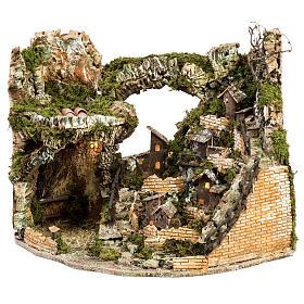 Borgo presepe illuminato con capanna 58x50x38 cm s1