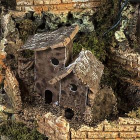 Borgo presepe illuminato con capanna 58x50x38 cm s3