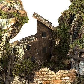 Borgo presepe illuminato con capanna 58x50x38 cm s4