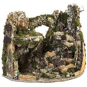 Borgo presepe illuminato con capanna 58x50x38 cm s5