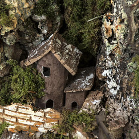 Borgo presepe illuminato con capanna 58x50x38 cm s6