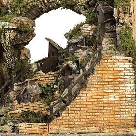 Borgo presepe illuminato con capanna 58x50x38 cm s7