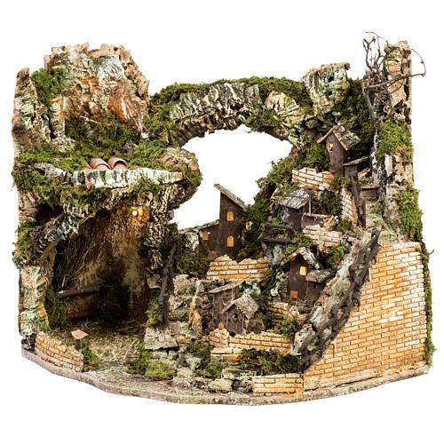 Borgo presepe illuminato con capanna 58x50x38 cm 1
