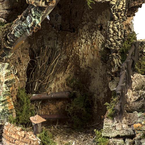 Borgo presepe illuminato con capanna 58x50x38 cm 2