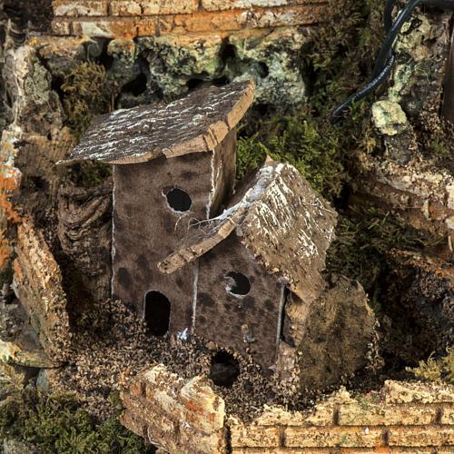 Borgo presepe illuminato con capanna 58x50x38 cm 3