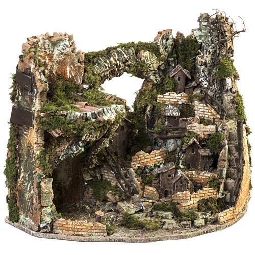 Borgo presepe illuminato con capanna 58x50x38 cm 5