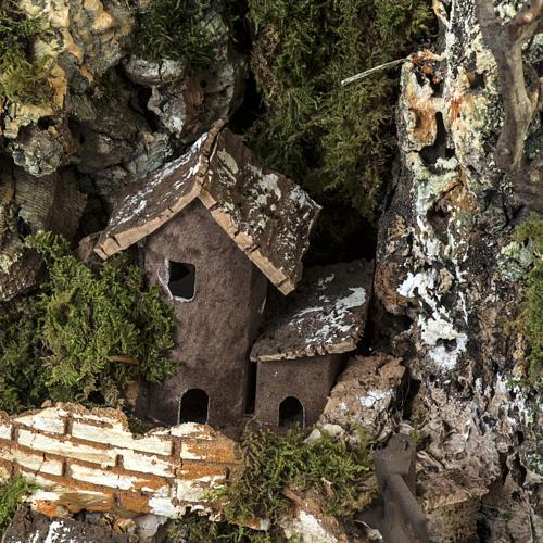 Borgo presepe illuminato con capanna 58x50x38 cm 6