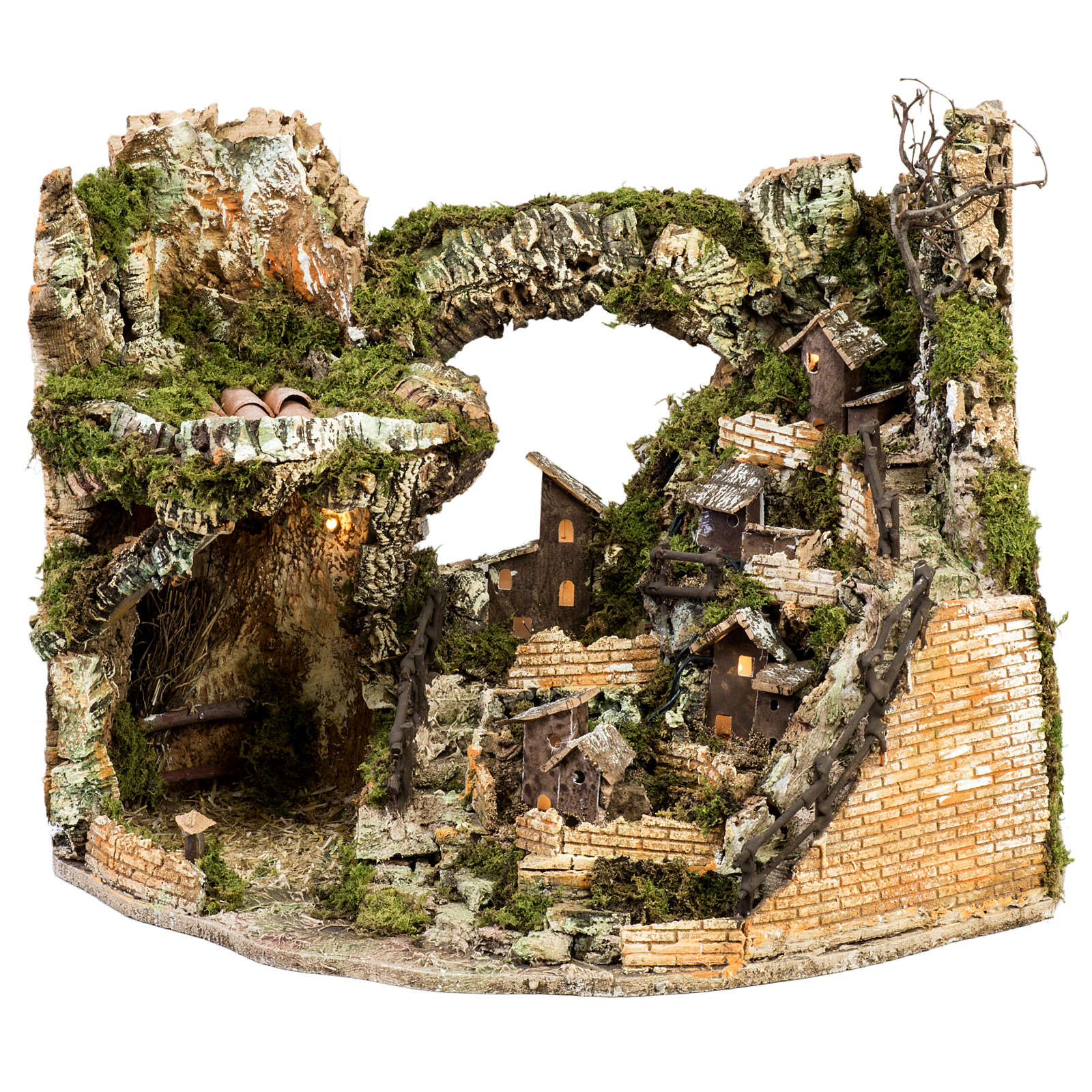 Nativity village with stable and lights 58x50x38cm 4